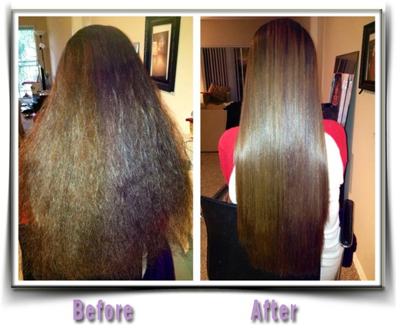 before after amino acid hair straightening
